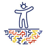 gezeichnete geschlechtsneutrale Figur steht auf gezeichneten Strichen, die wie ein unterirdisches Labyrinth aussehen
